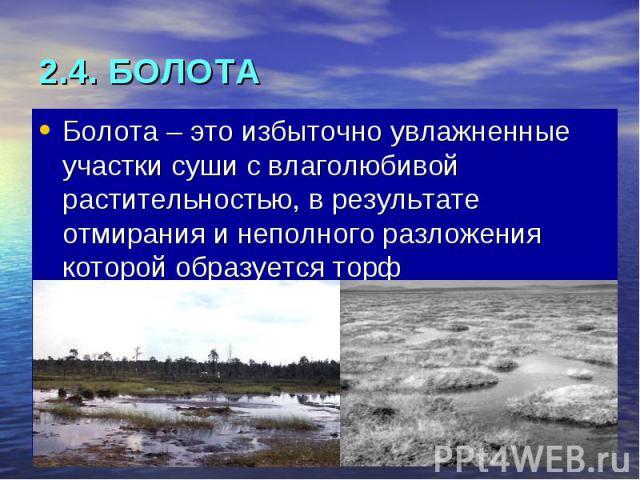 2.4. БОЛОТА Болота – это избыточно увлажненные участки суши с влаголюбивой растительностью, в результате отмирания и неполного разложения которой образуется торф