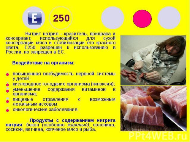250 Нитрит натрия - краситель, приправа и консервант, использующийся для сухой консервации мяса и стабилизации его красного цвета. Е250 разрешен к использованию в России, но запрещен в ЕС. Воздействие на организм: повышенная возбудимость нервной сис…