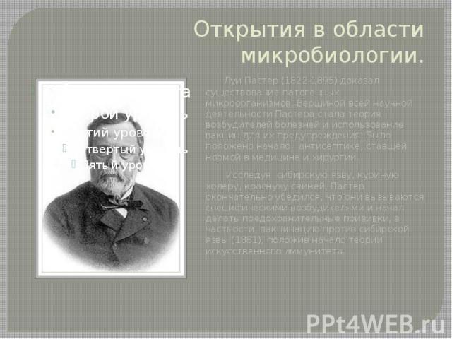 Открытия в области микробиологии. Луи Пастер (1822-1895) доказал существование патогенных микроорганизмов. Вершиной всей научной деятельности Пастера стала теория возбудителей болезней и использование вакцин для их предупреждения. Было положен…
