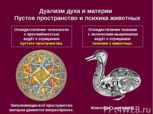 Дуализм духа и материи Пустое пространство и психика животных