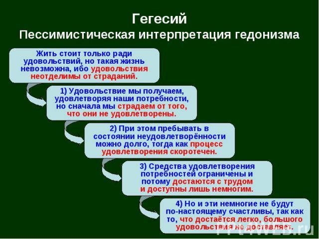 Гегесий Пессимистическая интерпретация гедонизма