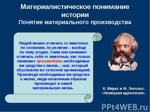 Материалистическое понимание истории Понятие материального производства