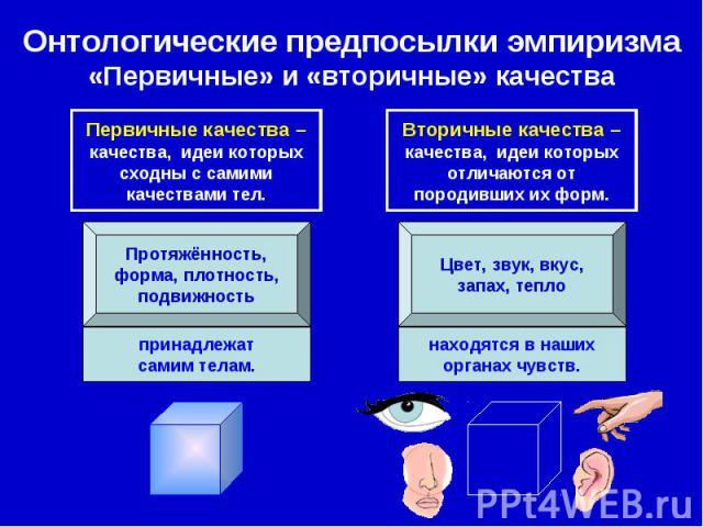 Онтологические предпосылки эмпиризма «Первичные» и «вторичные» качества