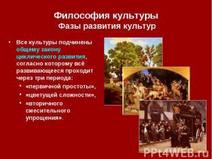 Философия культуры Фазы развития культур Все культуры подчинены общему закону ци
