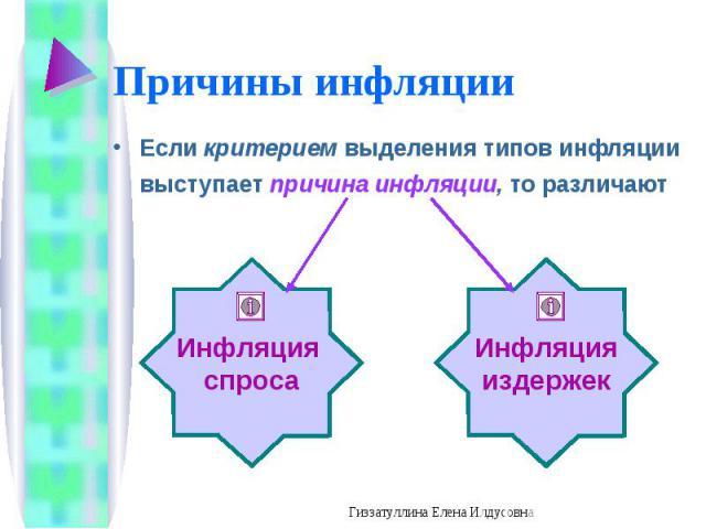 Если критерием выделения типов инфляции выступает причина инфляции, то различают Если критерием выделения типов инфляции выступает причина инфляции, то различают
