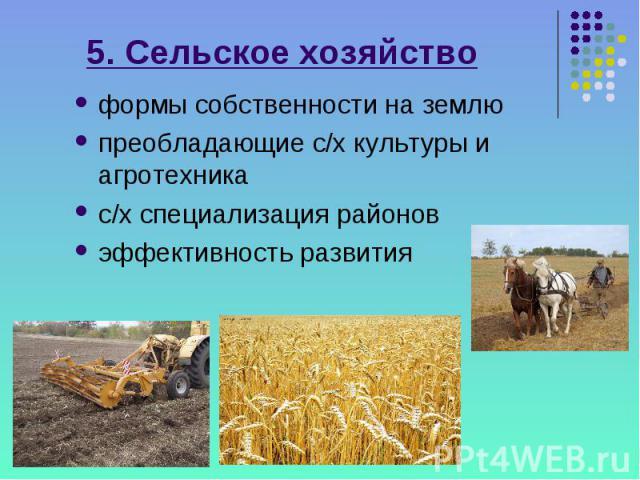 5. Сельское хозяйство формы собственности на землю преобладающие с/х культуры и агротехника с/х специализация районов эффективность развития