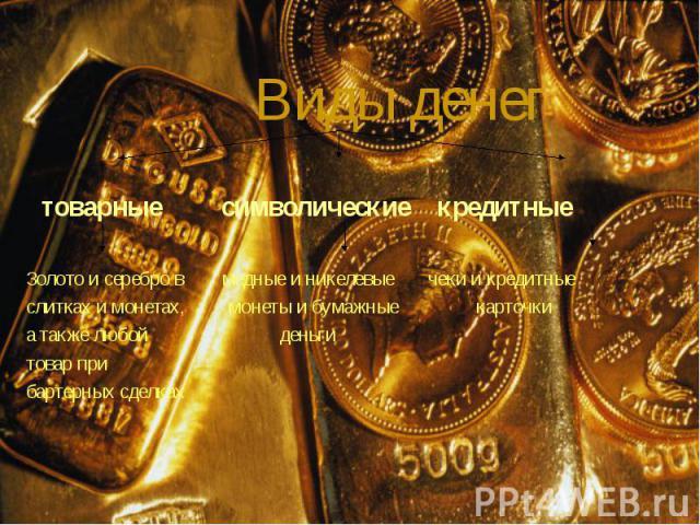 товарные символические кредитные товарные символические кредитные Золото и серебро в медные и никелевые чеки и кредитные слитках и монетах, монеты и бумажные карточки а также любой деньги товар при бартерных сделках