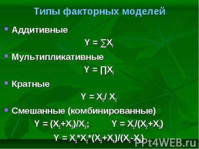 Аддитивные Аддитивные Y = ∑Xi Мультипликативные Y = ∏Xi Кратные Y = X1/ X2 Смешанные (комбинированные) Y = (X1+X2)/X3; Y = X1/(X2+X3) Y = X1*X2*(X3+X4)/(X5-X6)