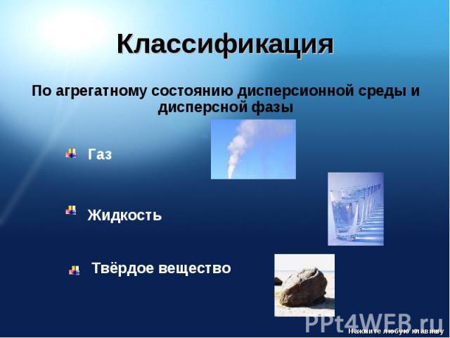 Классификация По агрегатному состоянию дисперсионной среды и дисперсной фазы