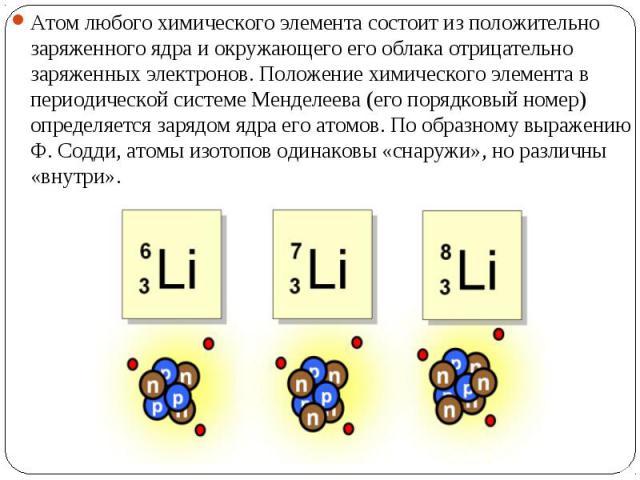 Атом любого химического элемента состоит из положительно заряженного ядра и окружающего его облака отрицательно заряженных электронов. Положение химического элемента в периодической системе Менделеева (его порядковый номер) определяется зарядом ядра…