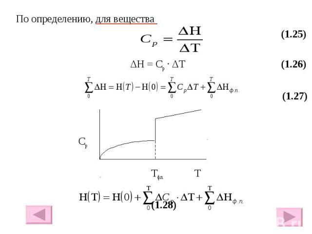 По определению, для вещества По определению, для вещества (1.25) ΔH = Cp · ΔT (1.26) (1.27) Cр Тф.п. Т (1.28)