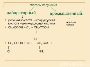 уксусная кислота →хлоруксусная кислота→аминоуксусная кислота уксусная кислота →х
