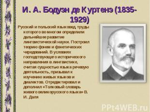 Русский и польский языковед, труды которого во многом определили дальнейшее разв