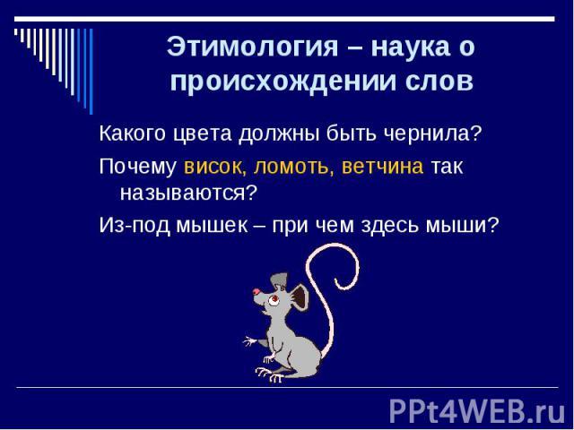 Какого цвета должны быть чернила? Какого цвета должны быть чернила? Почему висок, ломоть, ветчина так называются? Из-под мышек – при чем здесь мыши?