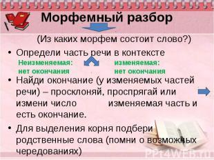 (Из каких морфем состоит слово?) (Из каких морфем состоит слово?) Определи часть