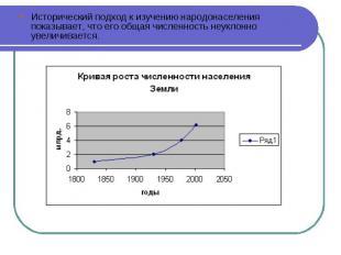 Исторический подход к изучению народонаселения показывает, что его общая численн