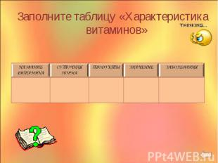 Заполните таблицу «Характеристика витаминов» Заполните таблицу «Характеристика в
