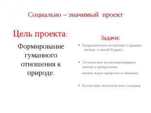 Социально – значимый проект Цель проекта: Формирование гуманного отношения к при