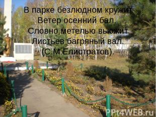 В парке безлюдном кружит Ветер осенний бал, Словно метелью вьюжит Листьев багрян
