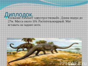 Диплодок. Название означает «двуотростковый». Длина ящера до 27м. Масса около 10
