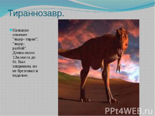 """Тираннозавр. Название означает """"ящер- тиран"""", """"ящер- разбой"""". Длина около 12м,масса до 6т. Был хищником, но не брезговал и падалью."""