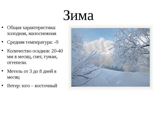 Зима Общая характеристика: холодная, малоснежная Средняя температура: -9 Количество осадков: 20-40 мм в месяц, снег, туман, оттепели. Метель от 3 до 8 дней в месяц Ветер: юго – восточный