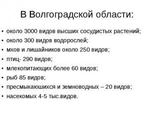 В Волгоградской области: около 3000 видов высших сосудистых растений; около 300