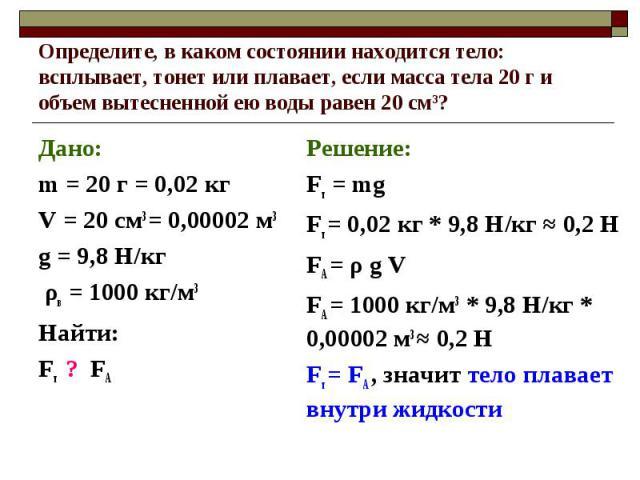 Дано: Дано: m = 20 г = 0,02 кг V = 20 см3 = 0,00002 м3 g = 9,8 Н/кг ρв = 1000 кг/м3 Найти: Fт ? FА