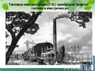 Тепловые электростанции (ТЭС) преобразуют энергию топлива в электрическую. Тепло