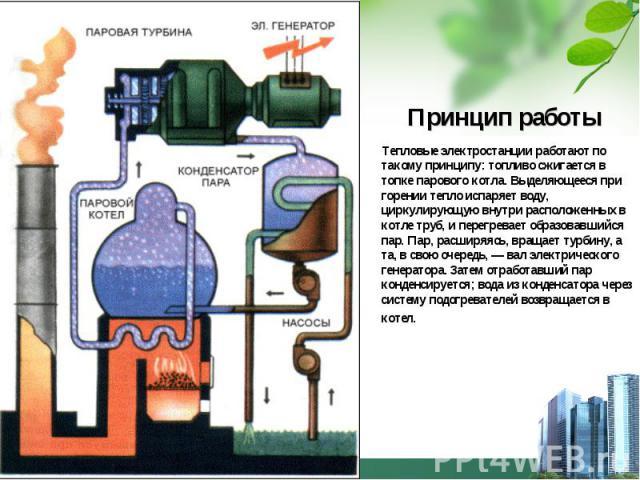 Принцип работы Тепловые электростанции работают по такому принципу: топливо сжигается в топке парового котла. Выделяющееся при горении тепло испаряет воду, циркулирующую внутри расположенных в котле труб, и перегревает образовавшийся пар. Пар, расши…