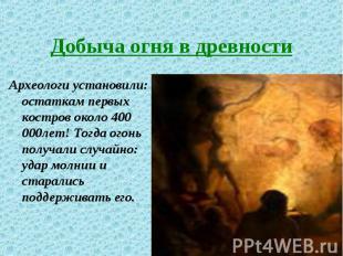 Археологи установили: остаткам первых костров около 400 000лет! Тогда огонь полу