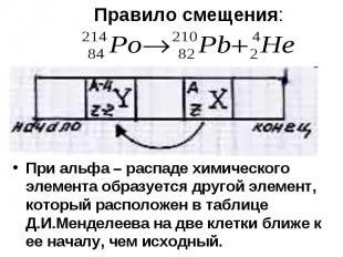 При альфа – распаде химического элемента образуется другой элемент, который расп
