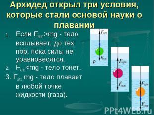Если FАРХ.>mg - тело всплывает, до тех пор, пока силы не уравновесятся. Если