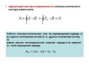 Циркуляция вектора напряженности электростатического контура равна нулю