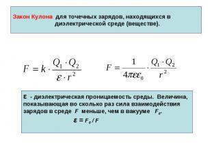 Закон Кулона для точечных зарядов, находящихся в диэлектрической среде (веществе