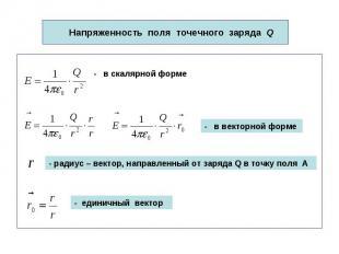 Напряженность поля точечного заряда Q - в скалярной форме