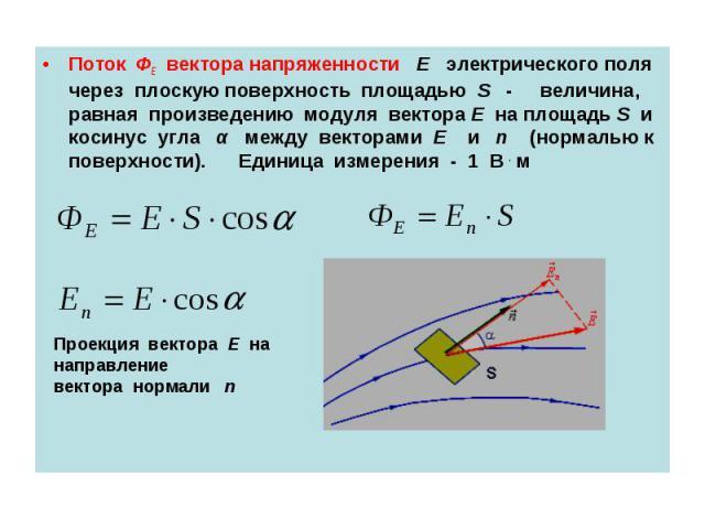 Поток ФЕ вектора напряженности E электрического поля через плоскую поверхность площадью S - величина, равная произведению модуля вектора E на площадь S и косинус угла α между векторами E и n (нормалью к поверхности). Единица измерения - 1 В . м