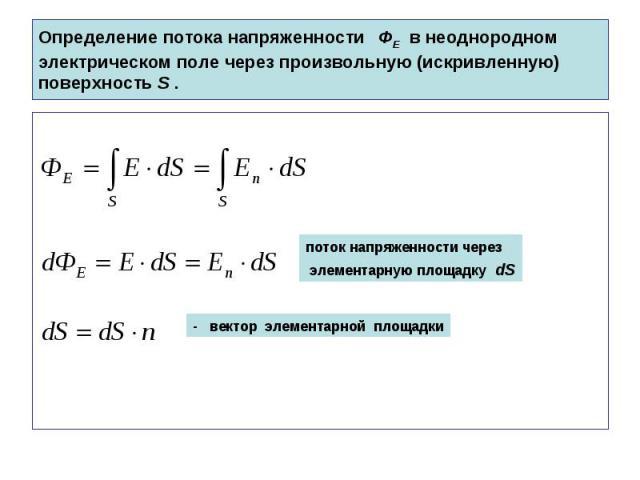 Определение потока напряженности ФЕ в неоднородном электрическом поле через произвольную (искривленную) поверхность S .