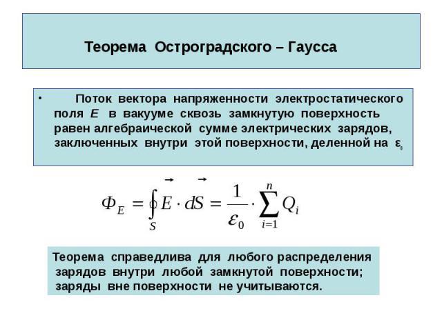 Теорема Остроградского – Гаусса Поток вектора напряженности электростатического поля E в вакууме сквозь замкнутую поверхность равен алгебраической сумме электрических зарядов, заключенных внутри этой поверхности, деленной на εо
