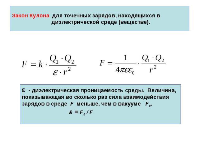 Закон Кулона для точечных зарядов, находящихся в диэлектрической среде (веществе).