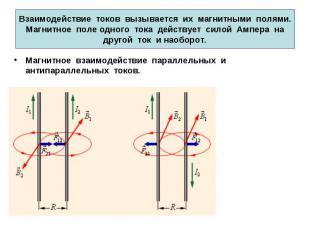 Взаимодействие токов вызывается их магнитными полями. Магнитное поле одного тока