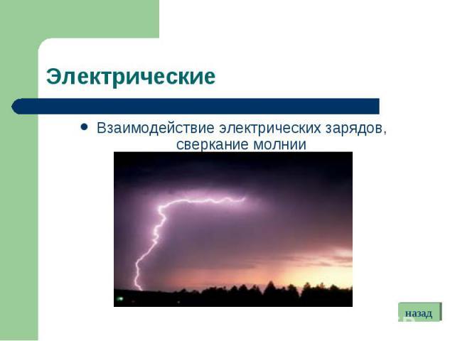 Взаимодействие электрических зарядов, сверкание молнии Взаимодействие электрических зарядов, сверкание молнии