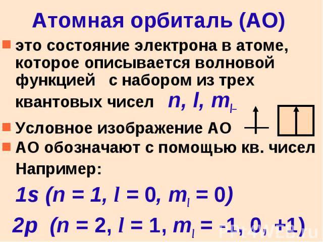 Атомная орбиталь (АО) это состояние электрона в атоме, которое описывается волновой функцией с набором из трех квантовых чисел n, l, ml Условное изображение АО АО обозначают с помощью кв. чисел Например: 1s (n = 1, l = 0, ml = 0) 2p (n = 2, l = 1, m…