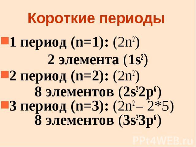 Короткие периоды 1 период (n=1): (2n2) 2 элемента (1s2) 2 период (n=2): (2n2) 8 элементов (2s22p6) 3 период (n=3): (2n2 – 2*5) 8 элементов (3s23p6)