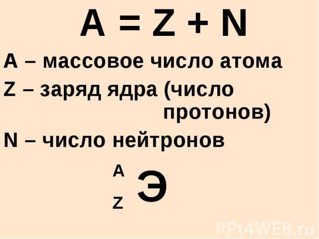 A = Z + N A – массовое число атома Z – заряд ядра (число протонов) N – число нейтронов Э