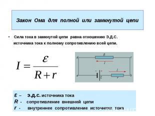 Закон Ома для полной или замкнутой цепи Сила тока в замкнутой цепи равна отношен