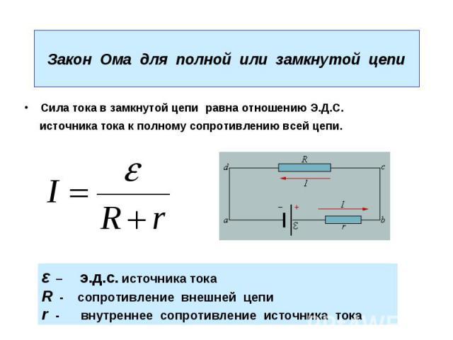 Закон Ома для полной или замкнутой цепи Сила тока в замкнутой цепи равна отношению Э.Д.С. источника тока к полному сопротивлению всей цепи.