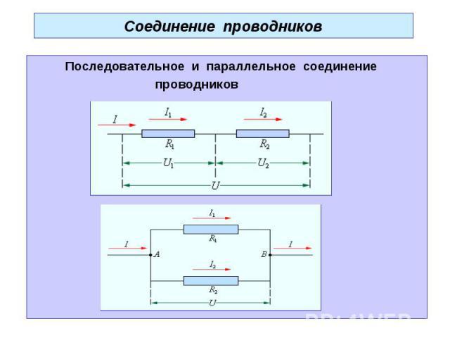 Соединение проводников Последовательное и параллельное соединение проводников