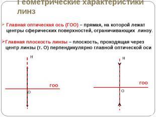 Главная оптическая ось (ГОО) – прямая, на которой лежат центры сферических повер