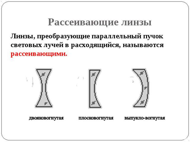 Линзы, преобразующие параллельный пучок световых лучей в расходящийся, называются рассеивающими. Линзы, преобразующие параллельный пучок световых лучей в расходящийся, называются рассеивающими.